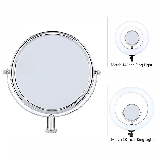 6-inch Two-Sided Swivel Makeup Mirror 1X & 3X Magnification Side Compatible LED Ring Light