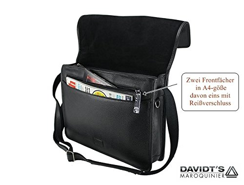 In pelle borsa a tracolla business Messenger Bag Citybag Borsa per Notebook Nero nuovo