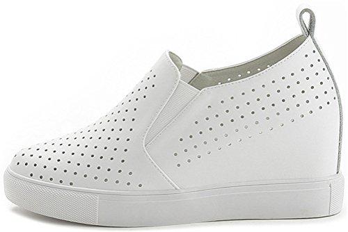 Satuki Sportschoenen Met Verborgen Hiel Voor Dames, Gehaakt Hielwiggen Platform Op Casual Witte Mode Sneakers