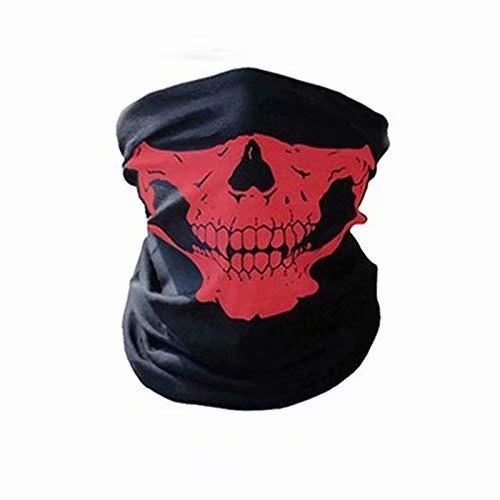 Ifchbauk Skull Face Mask Neck Scarf Snood Snowboard Skiing Motorcycle Biking BMX Paintball Bandana Skeleton Warmer Protective Dust Red