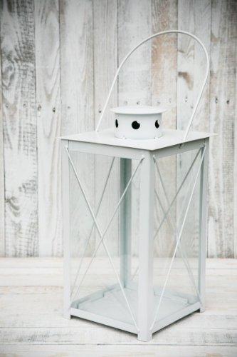 kuheiga Stabile Stalllaterne Laterne Gartenlaterne Weiß Höhe: 40cm/60cm