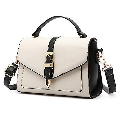 Mn&Sue Color Block White Envelope Purse Small Cross body Messenger Bags for Women Ladies Flap Handbags ()