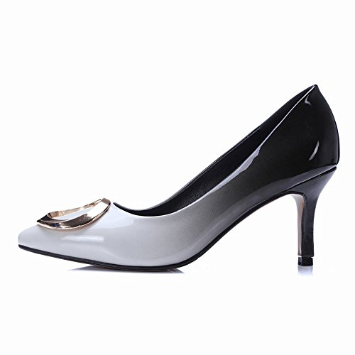 Donne Carolbar Scarpe A Punta Gradiente Sexy Tacchi A Spillo Scarpe Con Tacco Nero + Bianco
