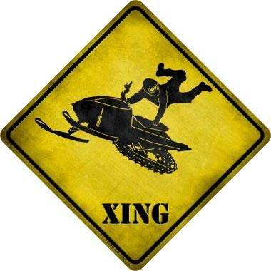 Bargain World Extreme Snow Mobile Riding Xing Novelty Metal Crossing Sign (Sticky Notes) -