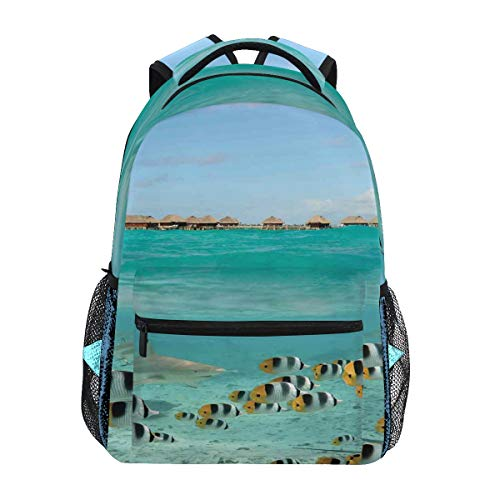 (YCHY Blacktip Reef Shark Chasing Butterfly Fish Lagoon of Bora Tahiti Lightweight School Backpack Students College Bag Travel Hiking Camping Bags)
