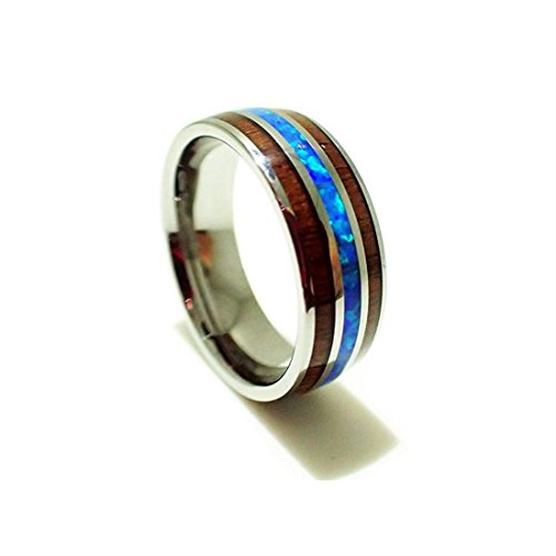 Size 11 Tungsten Carbide Koa Wood Synthetic Opal Confort Fit Ring/Wedding Band (8mm) by EMV Trading