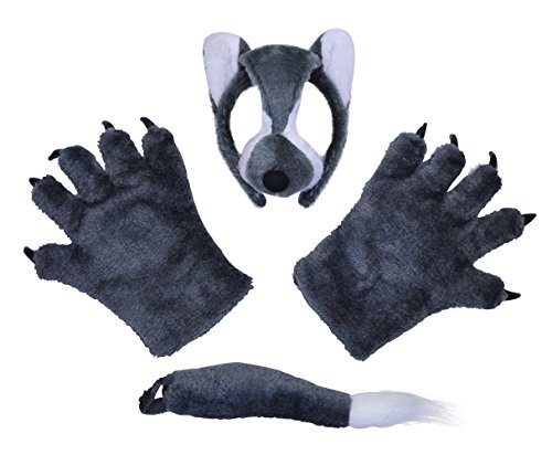 Childrens Wolf Mask, Tail & Paws Set
