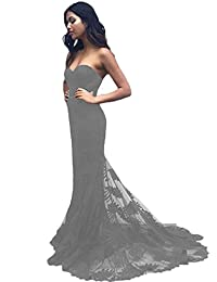 D.W.U Mermaid Lace Pageant Evening Formal Gowns Vintage Party Prom Dresses