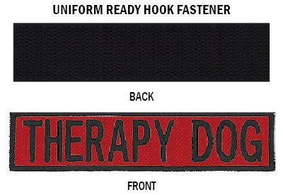 apy Dog Embroidered Patch with Border! Over 50 Fabrics to Choose! Same Day Ship! Made in The USA! Sew On or Hook Fastener. Red Fabric 4.5