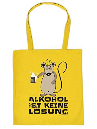 ALKOHOL IST KEINE LÖSUNG -Tote Bag Henkeltasche Beutel mit Aufdruck. Tragetasche, Must-have, Stofftasche. Geschenk