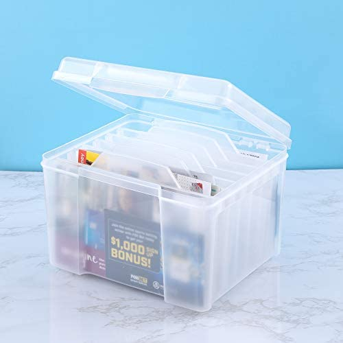 Greeting Card Storage & Organizer Box with 6 Adjustable Dividers for Holiday Birthday Get Well Cards Photos, Crafts, Scrapbooking, Paper, Stickers and More
