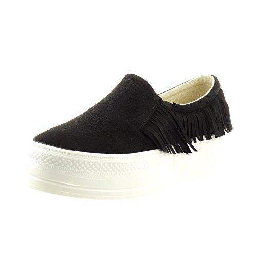 Sopily - Scarpe da Moda Sneaker slip-on alla caviglia donna frange Tacco a blocco 5 CM - Nero
