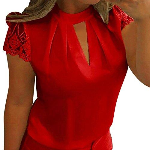(Big Promotion! FarJing Women Blouse Casual Chiffon Short Sleeve Splice Lace Crop Top (XL,Red))