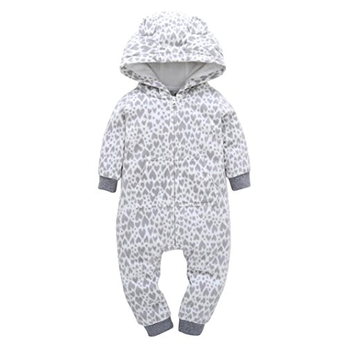 Gotd Infant Baby Girl Boy Clothes Winter Thicker Hooded Romper Jumpsuit Autumn Outfits (0-6 Months, Gray)]()