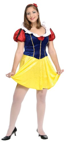 Plus Size Snow White (Disney Secret Wishes Full Figure Fairy Tale Maiden Costume, Red,)