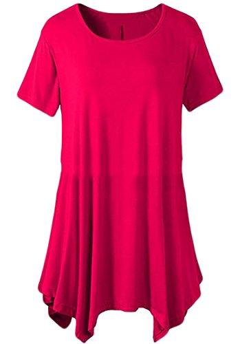 Domple Occasionnel Des Femmes De Mini-robe T-shirt Tunique Ras Du Cou Sans Manches Asymétrique Rose Rouge