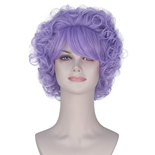 Women Girl's Short Curly Purple Hair with Full Bangs Game Costume Wig Halloween Party]()