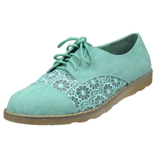 Womens Flat Shoes Embroidered Flower Brogues Lace Up Oxford Flats Green