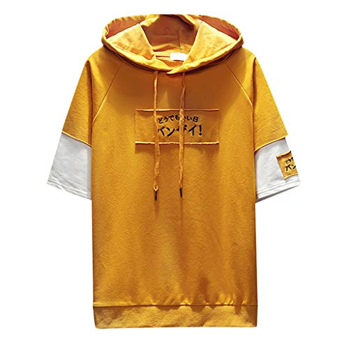 (Men's Summer Fashion Color Collision Hoodie T-Shirts Fake Two Half Sleeves Tops Yellow)