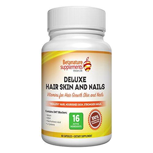 BetaNature Deluxe vitamines pour la peau des cheveux et des ongles. Les suppléments de vitamines pour la croissance des cheveux, la peau soins et ongles plus forts. Biotine pour la croissance des cheveux, MSM, L-cystéine, bloqueurs de DHT et multivitamine