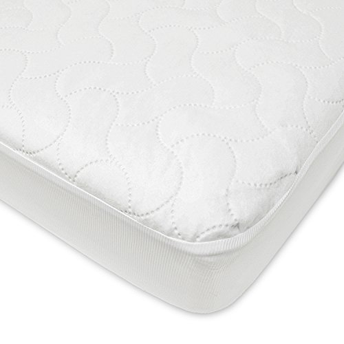 y Waterproof Fitted Crib and Toddler Protective Mattress Pad Cover, White ()