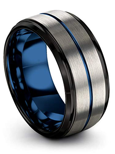 Chroma Color Collection Tungsten Carbide Wedding Band Ring 10mm for Men Women Blue Interior with Blue Center Line Step Bevel Edge Black Grey Brushed Polished Comfort Fit Anniversary Size 11 (Red Rose Inlay Ladies)