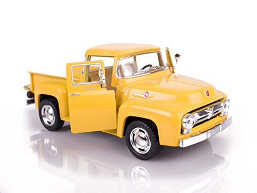 """KiNSMART 1956 Classic Ford F-100 Pick-Up Truck 5"""" Pull Back Die Cast Model, Yellow"""
