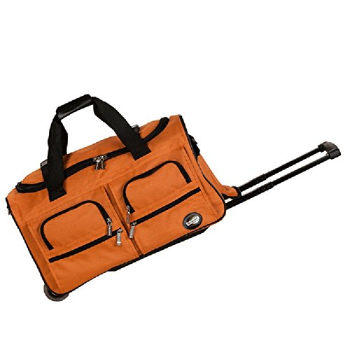 DH Orange 22-Inch Sports Pattern Carry On Rolling Upright Traveling Duffle Bag, Beautiful Sport Adventure Theme Duffel, Large Travel Wheeling Duffel Bag, Multi-Compartment, Shoulder Strap Fashionable by DH