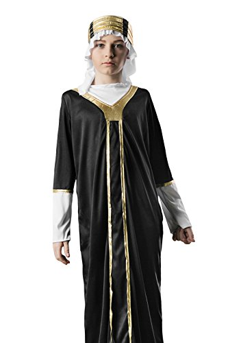 Arab Sheik Outfit (Kids Boys Arabian Prince Halloween Costume Sheik Oil Baron Dress Up & Role Play (6-8 years, black, gold, white))