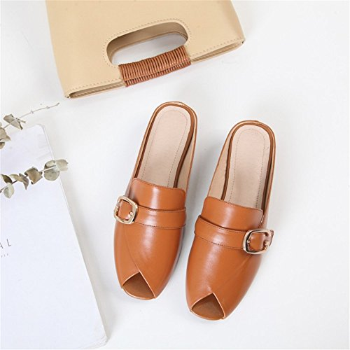 Head Size Bottom Flat Metal Color Slippers Muller Shoes Square Heel Brown 6 Brown Buckle 5 Coarse US BdHw7HqT