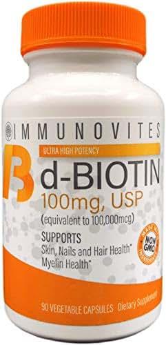 High Dose Biotin (as d-Biotin, USP) 100mg (Equivalent to 100,000mcg) 90 Capsules, High Potency