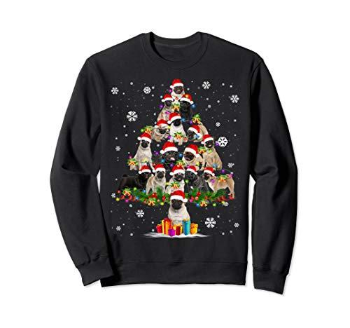 Funny Pug Dog Christmas Tree Hat In Snow Santa Xmas Sweatshirt (Jumpers Christmas Dogs)