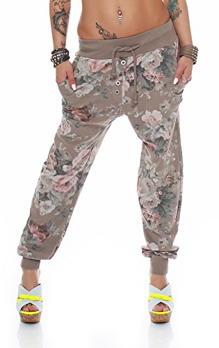 ZARMEXX BaggyPantalones deportivos para mujer pantalones Boyfriend Ocio Pantalones Harén Pantalones Pantalones de deporte con flor de impresión capuchino