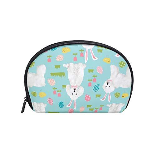 Half Moon Cosmetic Beauty Bag Bichon Frise Dog Mint Travel Handy Organizer Makeup Pouch for Women Girls