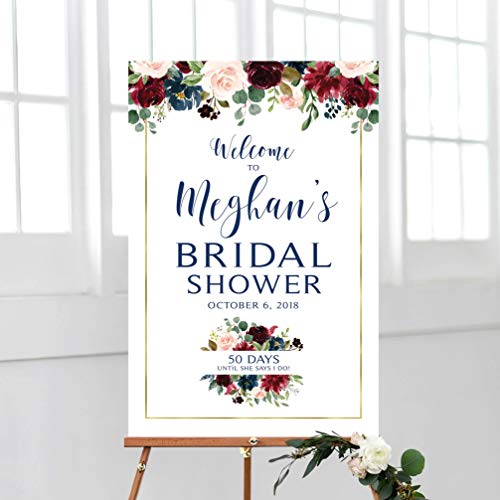 Dozili Bridal Shower Welcome Sign Wedding Countdown Navy Blue Burgundy and Navy Marsala Floral