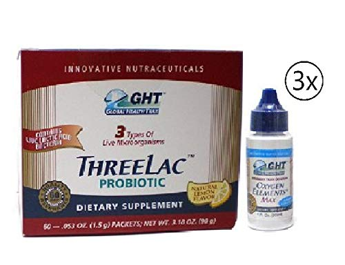 GHT Three Lac Probiotic Natural Lemon Flavor Supplement (3.18 oz) 1 Pack with Oxygen Elements Max Dietary Supplement (1 Bottle)