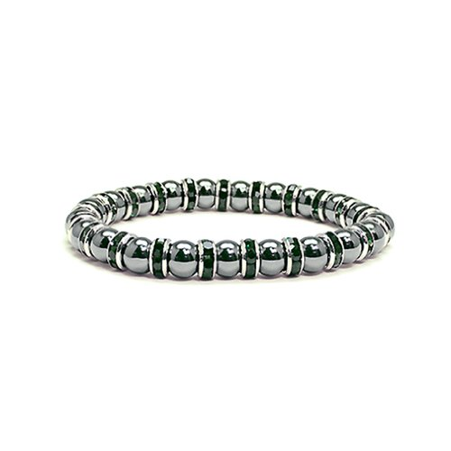 (Accents Kingdom Women's Magnetic Hematite Tuchi Simulated Pearl Bracelet with Simulated Emerald Crystal, 7.5