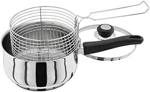 NEW 3PC 20CM STAINLESS STEEL INDUCTION DEEP CHIP PAN FRYER POT LID BASKET