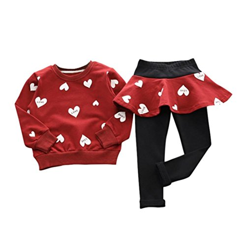 Little Kid Girls Long Sleeve Shirt Sweater+ Pants Skirt Sports Suit By FEITONG (4T / 4Years, Red)