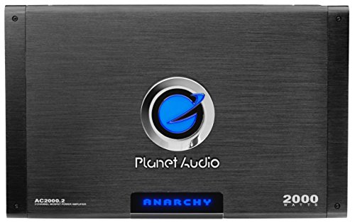 Planet Audio AC2000.2 Anarchy 2000 Watt, 2 Channel, 2/4 Ohm Stable Class A/B, Full Range, Bridgeable, MOSFET Car Amplifier with Remote Subwoofer ()