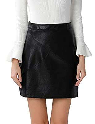 GUANYY Women's Faux Leather Vintage High Waist Classic Slim Mini Pencil Skirt