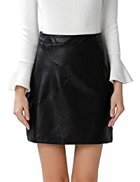 Women's Faux Leather Vintage High Waist Classic Slim Mini Pencil Skirt
