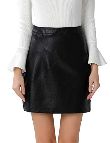 Club Brown Leather - GUANYY Women's Faux Leather Vintage High Waist Classic Slim Mini Pencil Skirt(Black,XX-Large)