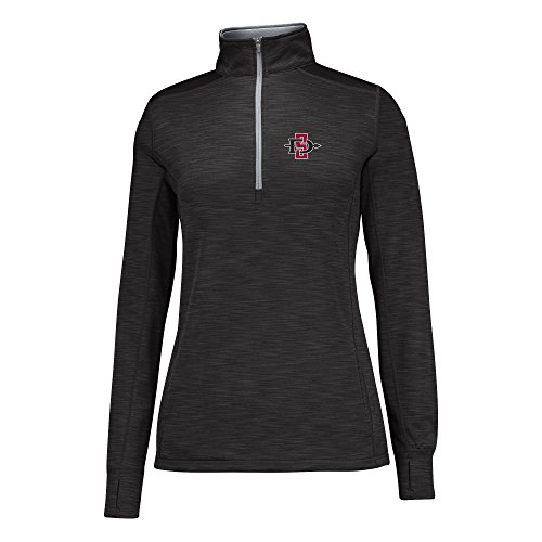 J America NCAA San Diego State Aztecs Women's Courtside Poly Fleece 1/2 Zip Sweater, Large, Black/Cement