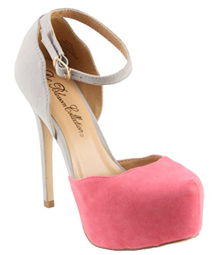 Blossom Womens Kinko-159 Faux Suede Almond-Toe DOrsay Two Tone Platform High Heel Pumps Pink/Grey A6wLEZa