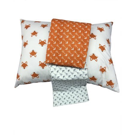 Bacati Playful Foxs 3 Piece Toddler Sheet Set, Orange/Grey PFOGRSS