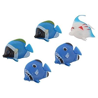 uxcell Aquarium Decor Floating Plastic Fish Multicolor 5 Pcs