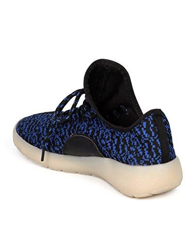 Alrisco Damesweefsel Oplichten Oplaadbare Jogger - Casual, Feest, Festival - Flitsende Sneaker - Gf35 Blauw