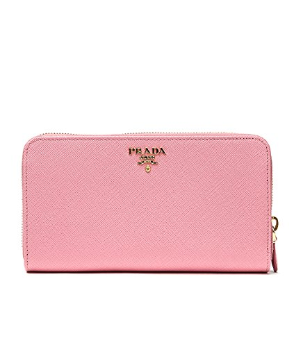 Wiberlux Prada Women's Metal Logo Detail Tab Real Leather Long Wallet