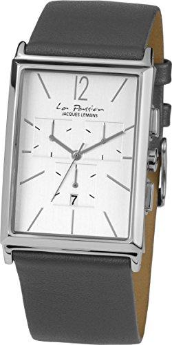 Jacques Lemans Men's La Passion Grey Leather Band Steel Case Quartz Silver-Tone Dial Analog Watch LP-127H